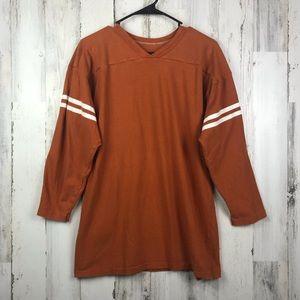 Russell Athletics | Orange V-Neck Sweater XL
